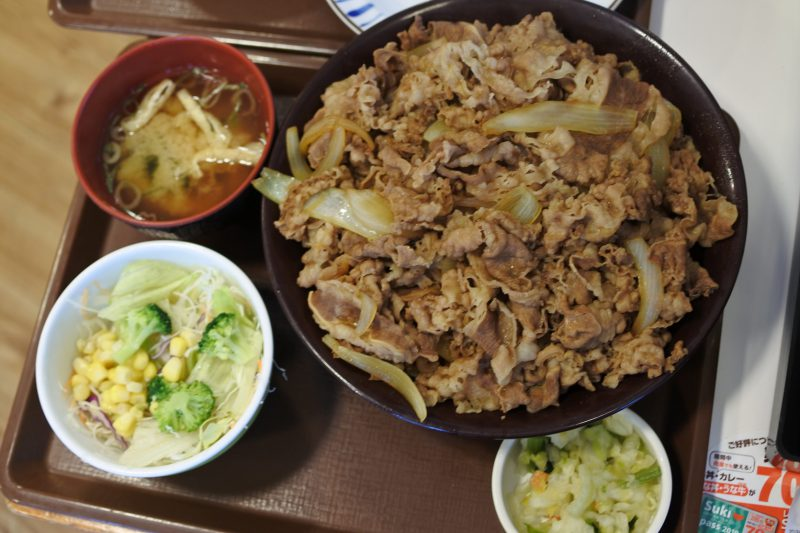 キング牛丼とサイドメニュー