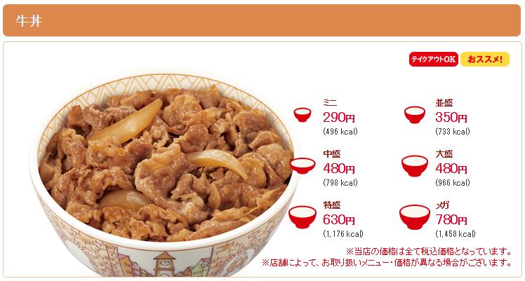 すき家牛丼サイズ